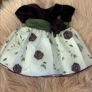 Purple Velvet w green sash dress